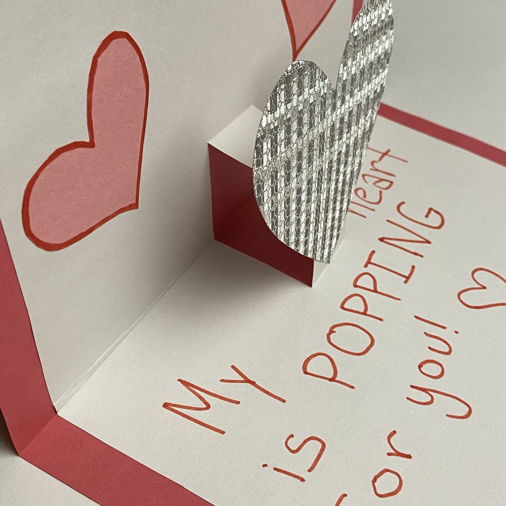 Pop-up Valentines card craft for children with special needs
